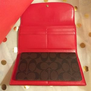 Coach signature brown and red wallet